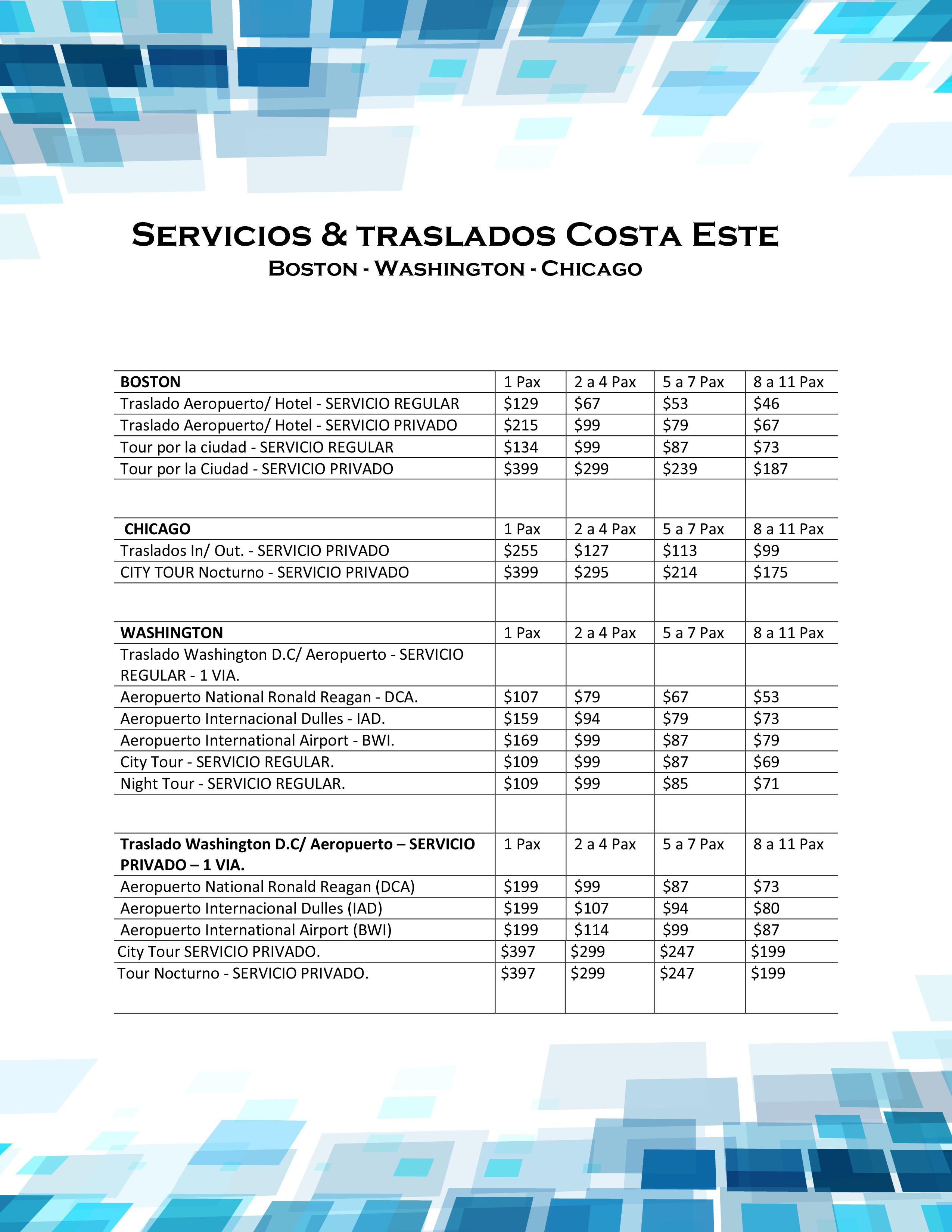 Servicios & Traslados Costa Este - Boston_Washington_Chicago