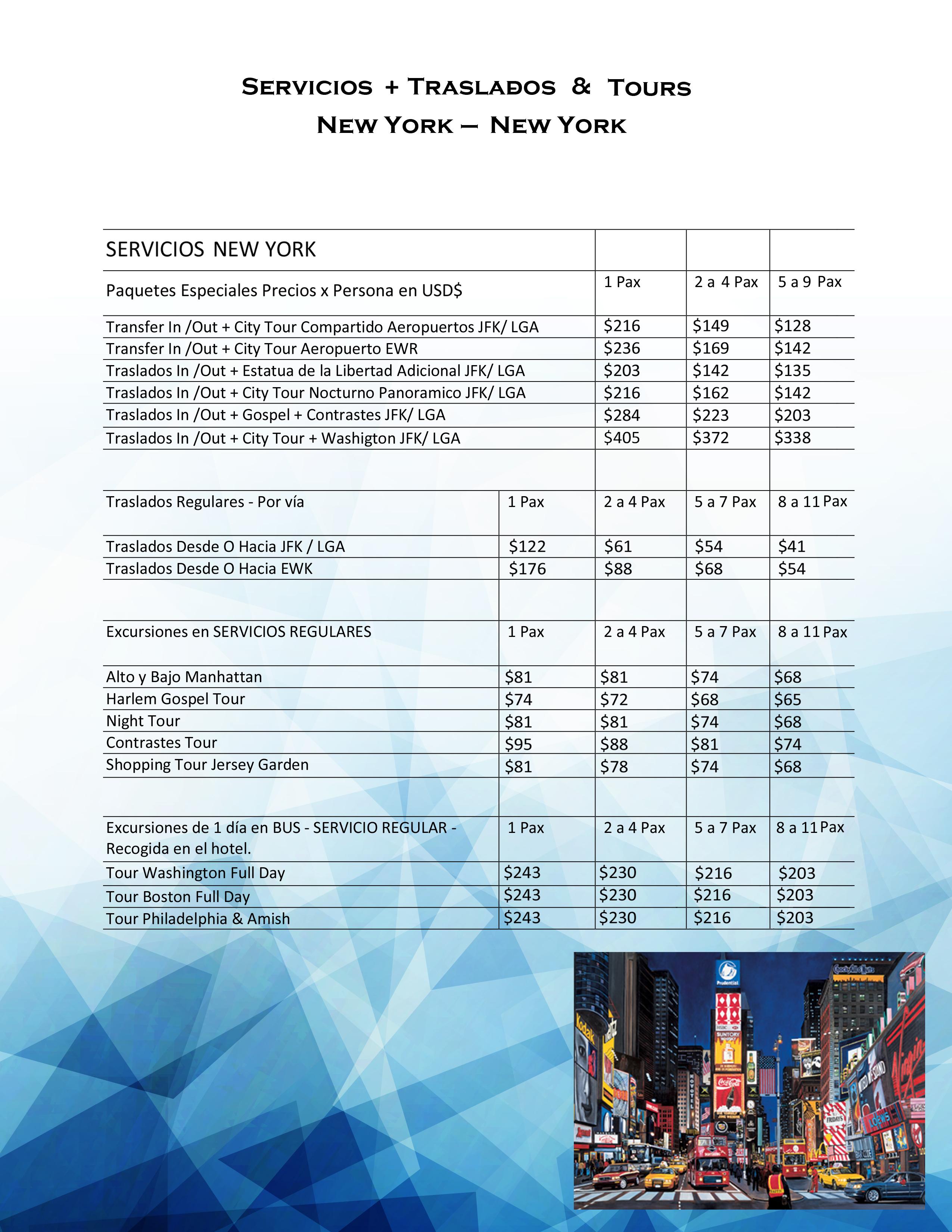 Servicios & traslados + Tours New York - Costa Este1