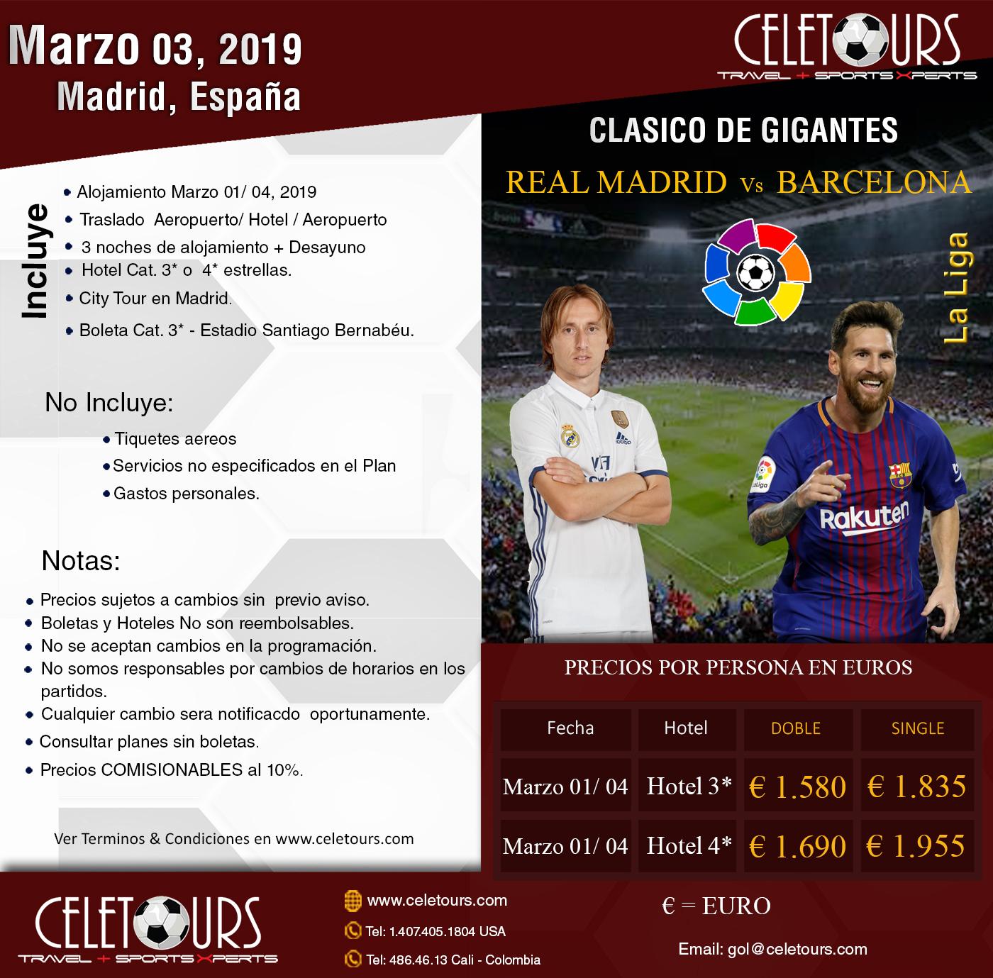 La Pulga De Las Vegas >> Real Madrid vs Barcelona Marzo 2019 - Celetours