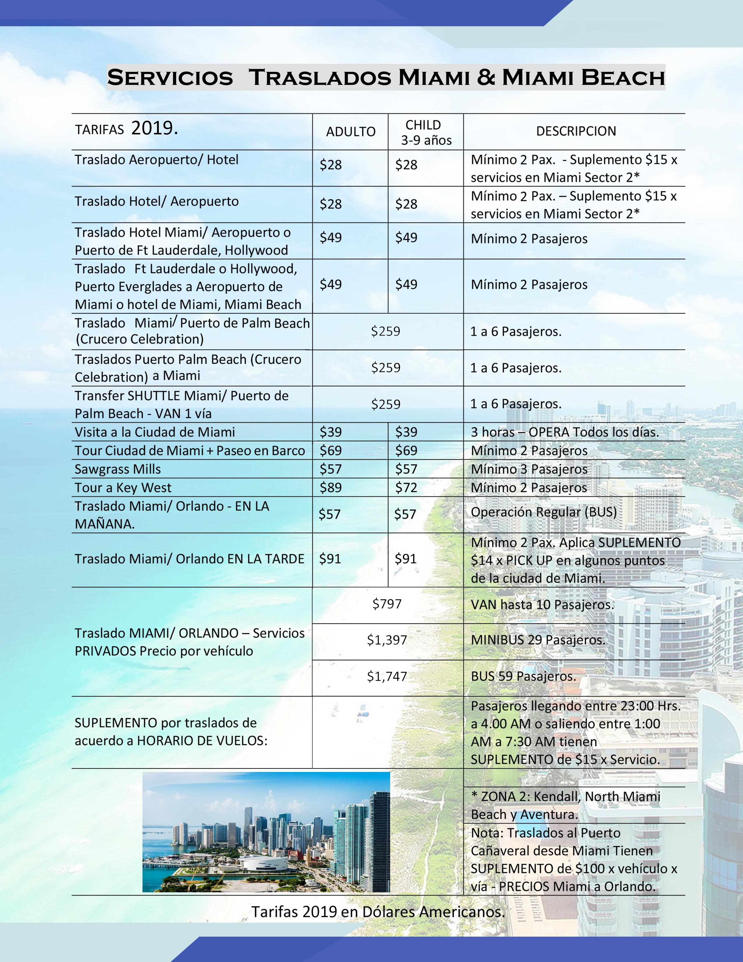 servicios + traslados Miami & Miami Beach
